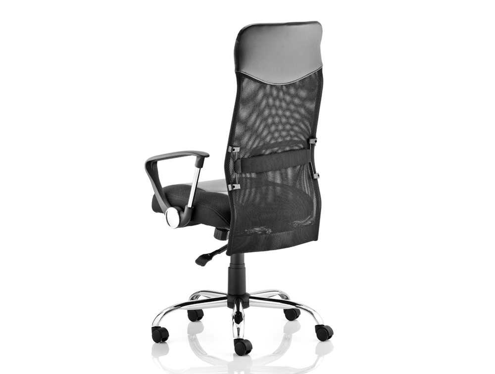 Vegas Executive Chair Black Leather Seat Black  Mesh Back With Leather Headrest With Arms Image 2