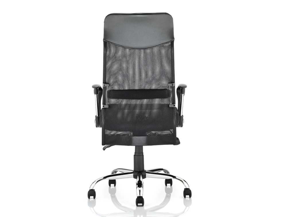 Vegas Executive Chair Black Leather Seat Black  Mesh Back With Leather Headrest With Arms Image 4