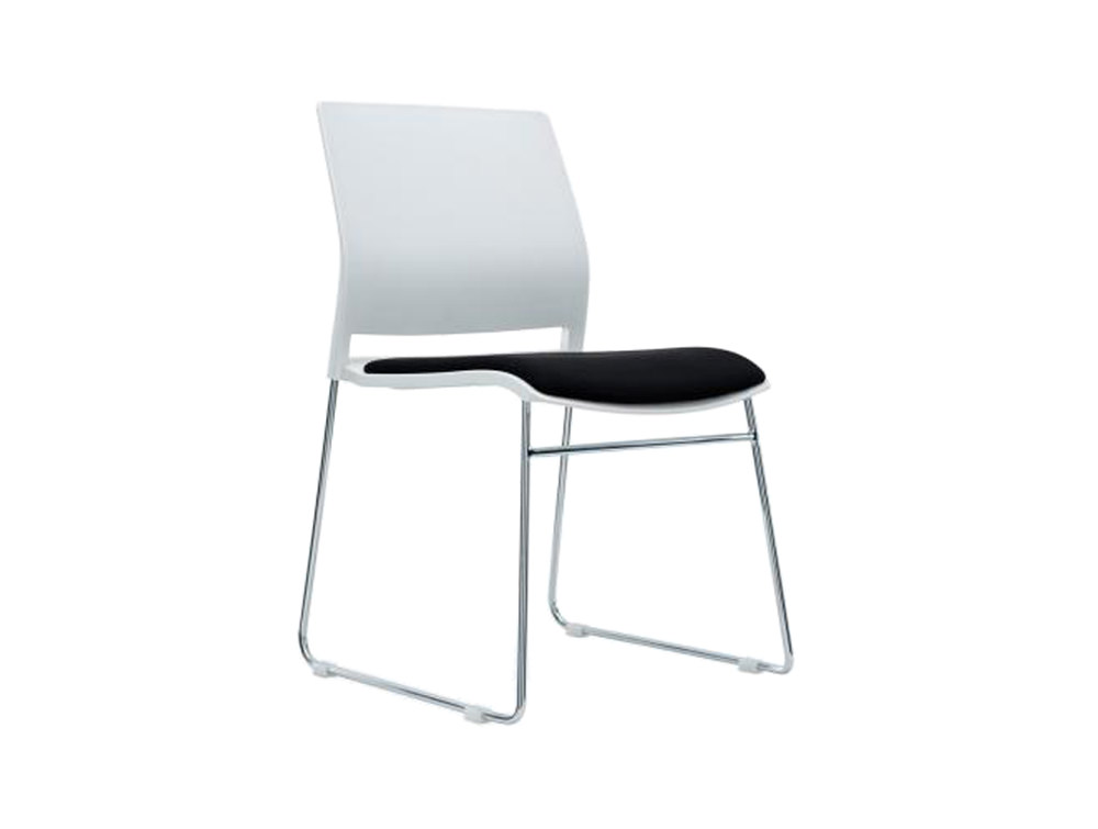 Verse Multipurpose Stacking Chair in White and Black