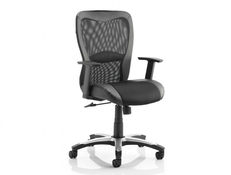 Victor Executive Chair Black Leather Black Mesh With Arms Featured Image
