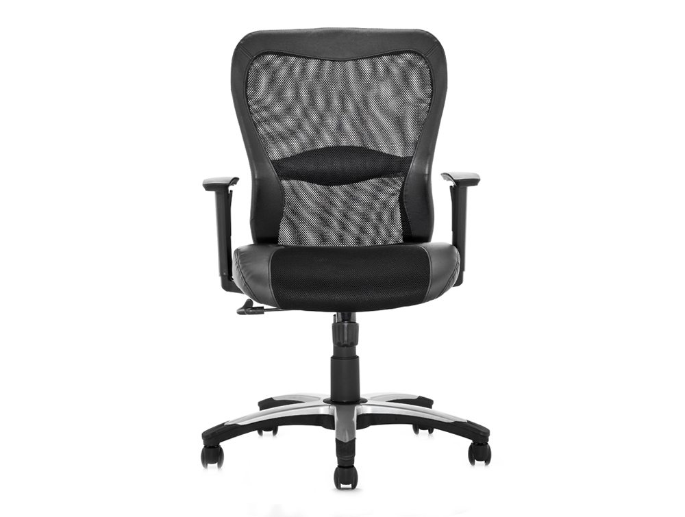 Victor Executive Chair Black Leather Black Mesh With Arms Image 2