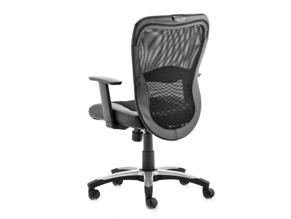 Victor Executive Chair Black Leather Black Mesh With Arms Image 3