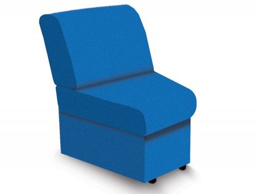 Wave Modular Reception Seating Convex Unit in Blue