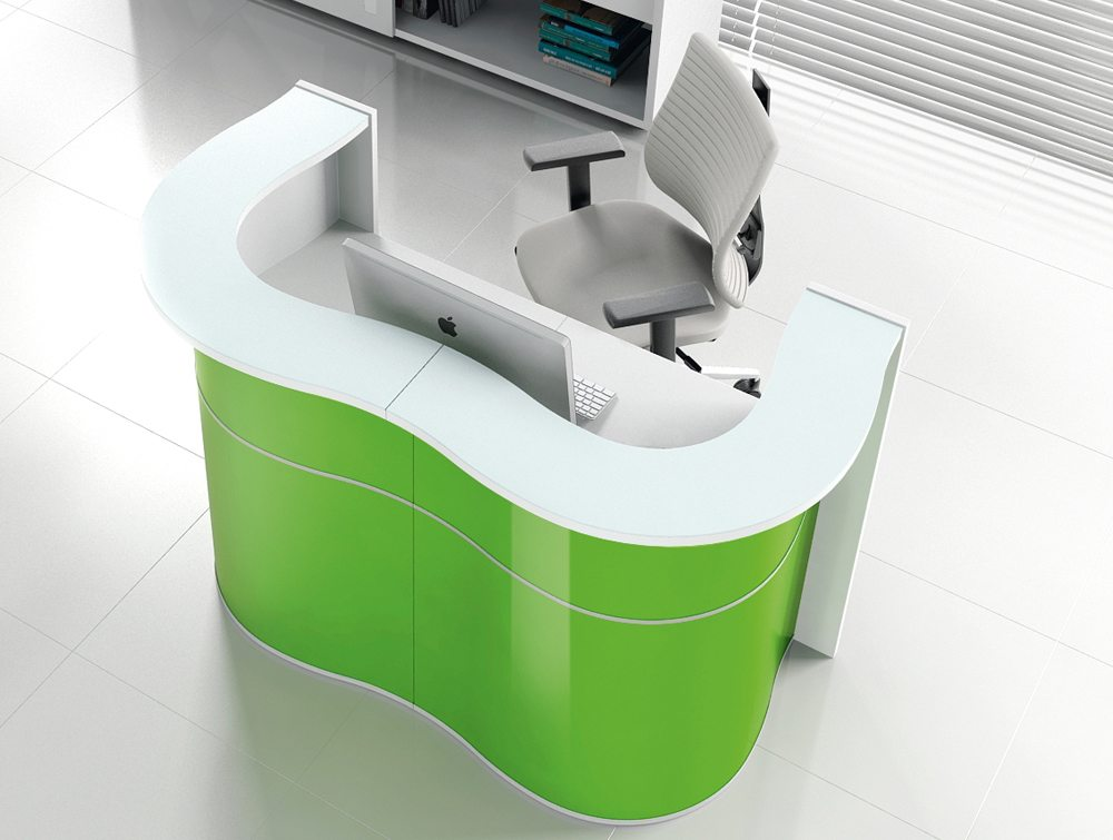 Wave reception desk in green for small reception area