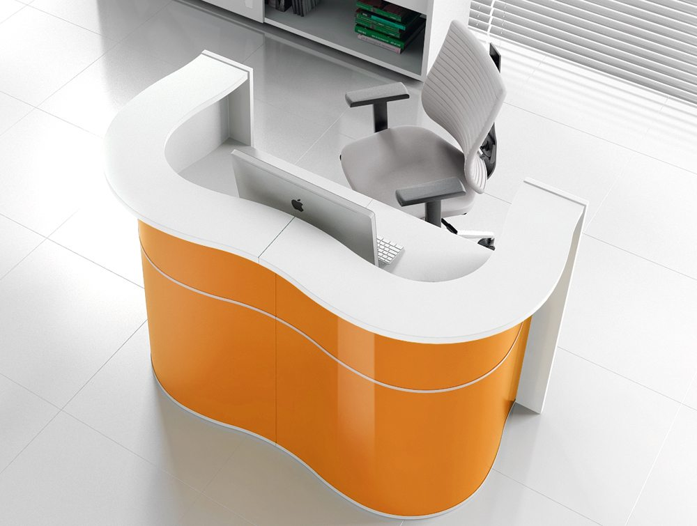 Wave reception desk in yellow for small reception area