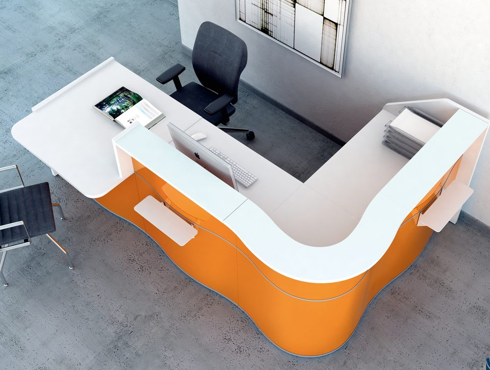 Wave reception desk in yellow for small offices