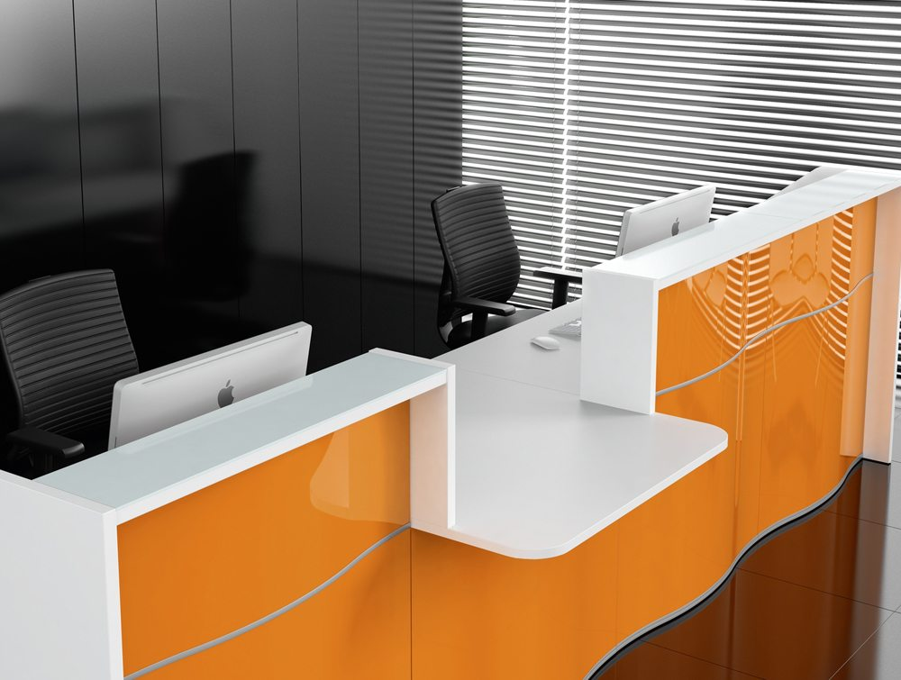 Wave reception desk in yellow wide