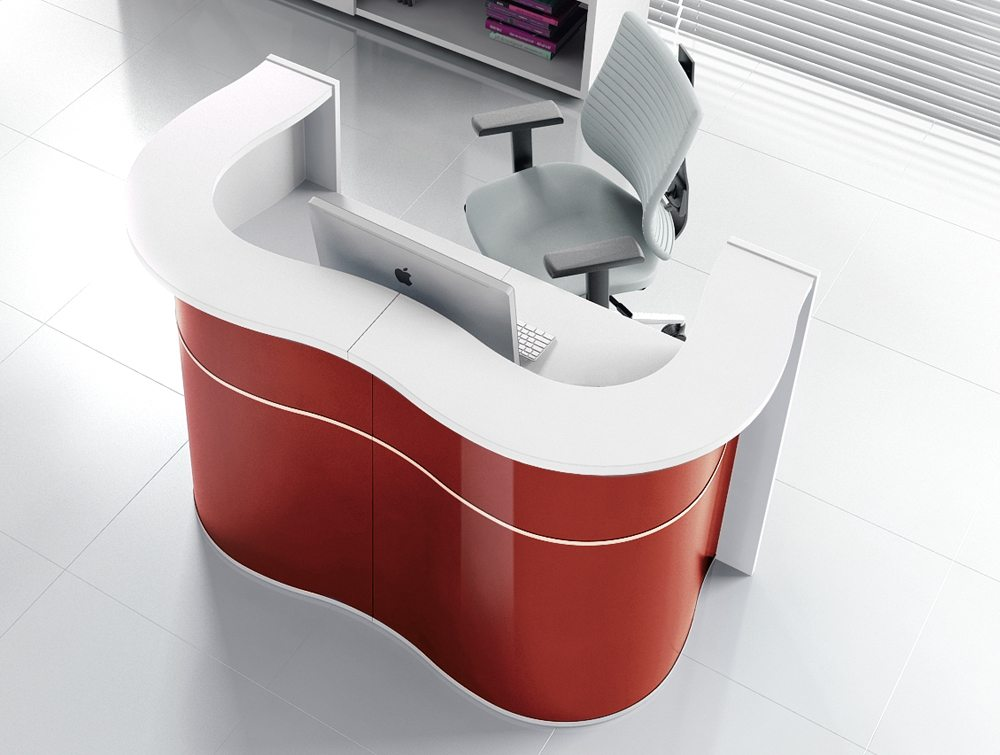 Wave reception desk in red