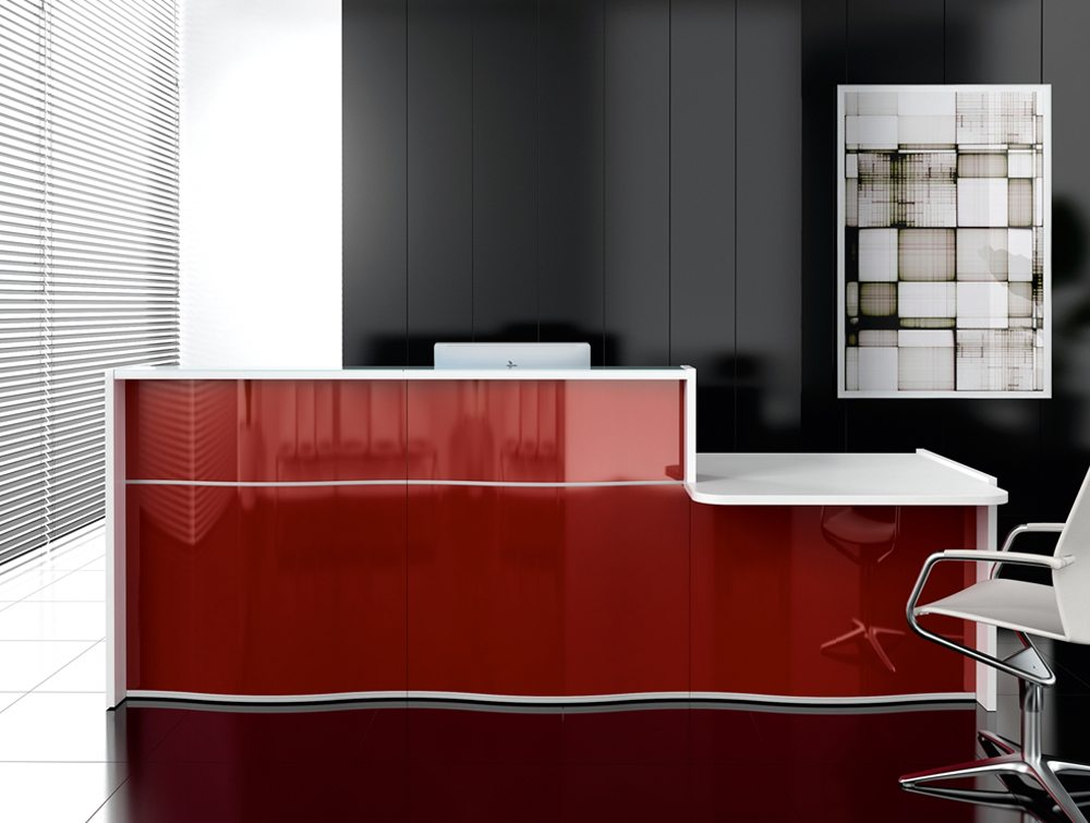 Wave reception desk in red for wide offices