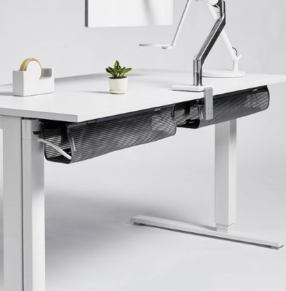 White Adjustable Desk with Black Mesh Cable Basket