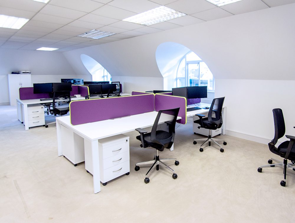 White Desks with Black Mesh Chairs and Purple Desk Dividers