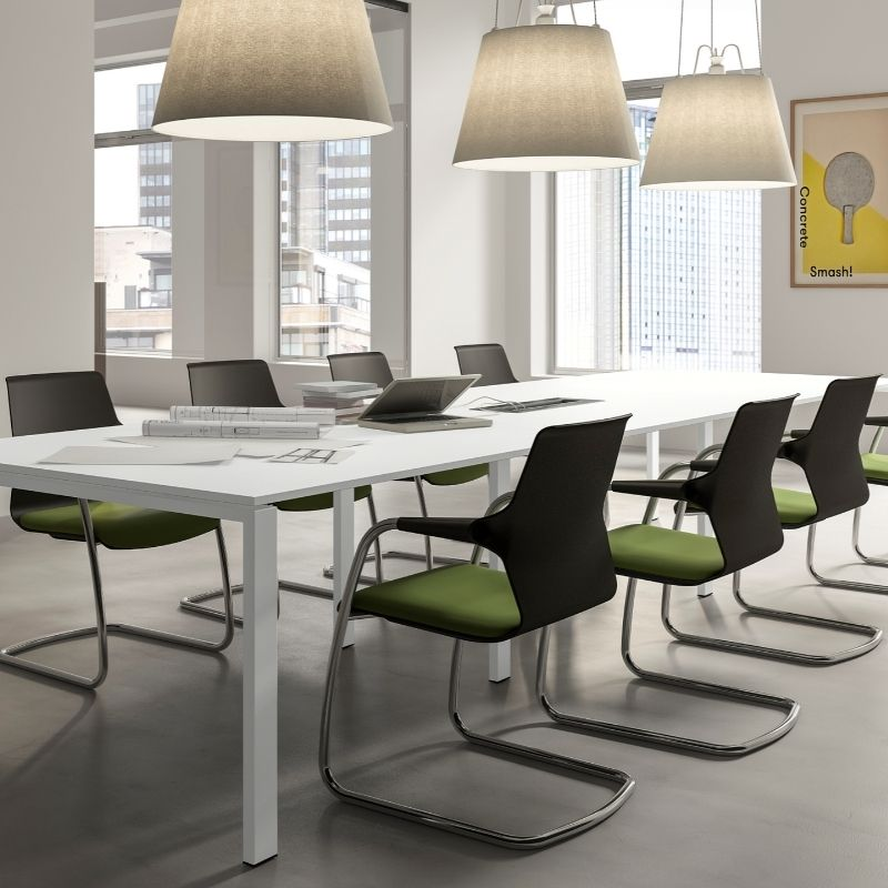 White Meeting Room Table with Cantilever Chairs in Black and Green