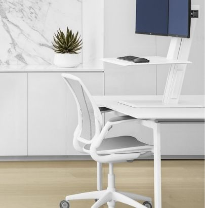 White Mesh Chair with Height Adjustable Worktop