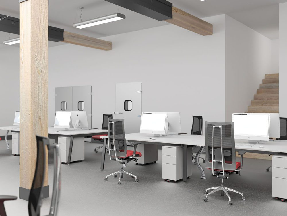 White Switch Desks with Kito Mobile Pedestals and Red Chairs