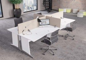 White Table Pod Of Four. White Radial Office Desk With Storage