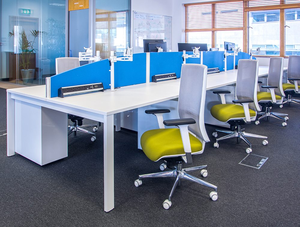 White desk with yellow chairs