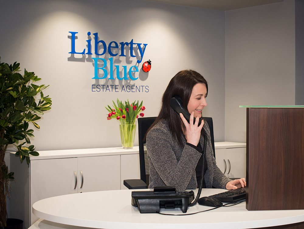Liberty blue reception desk image