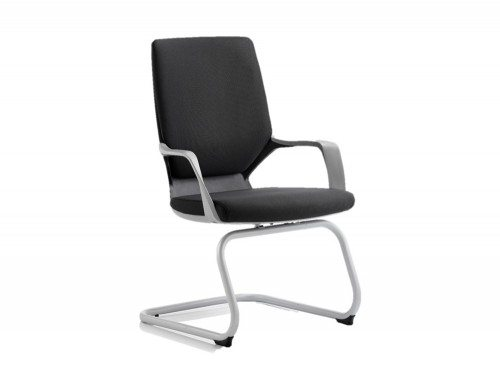 Xenon Visitor Cantilever Black Chair Black Fabric With Arms Featured Image