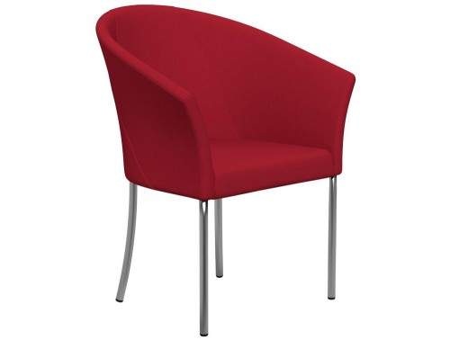 You 4-Legged Armchair with Armrests E090 Red Stainless Steel Leg