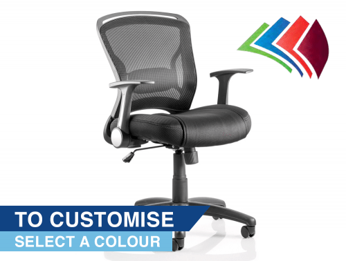 Zeus Task Operator Chair Black Fabric Black Mesh Back With Arms Featured Image Bespoke
