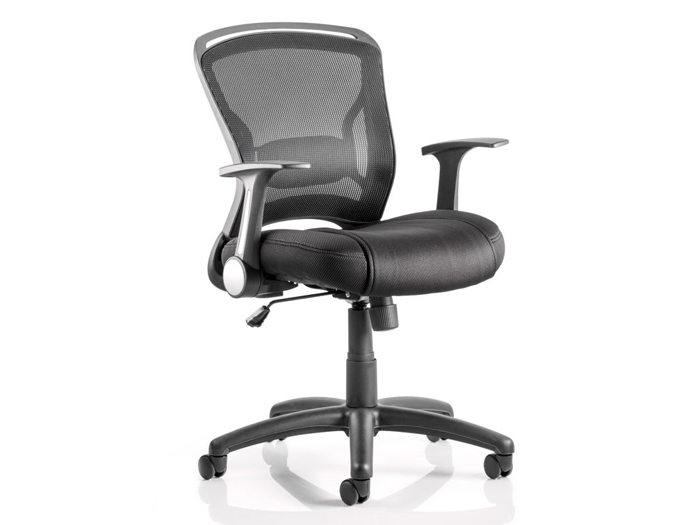 Zeus Task Operator Chair Black Fabric Black Mesh Back With Arms Featured Image