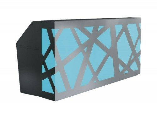 Zig zag Reception Counter with LED Lights in blue