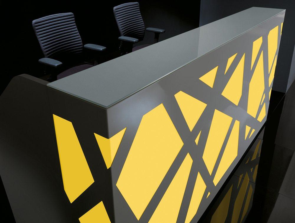 Black zig zag reception counter yellow LED lights