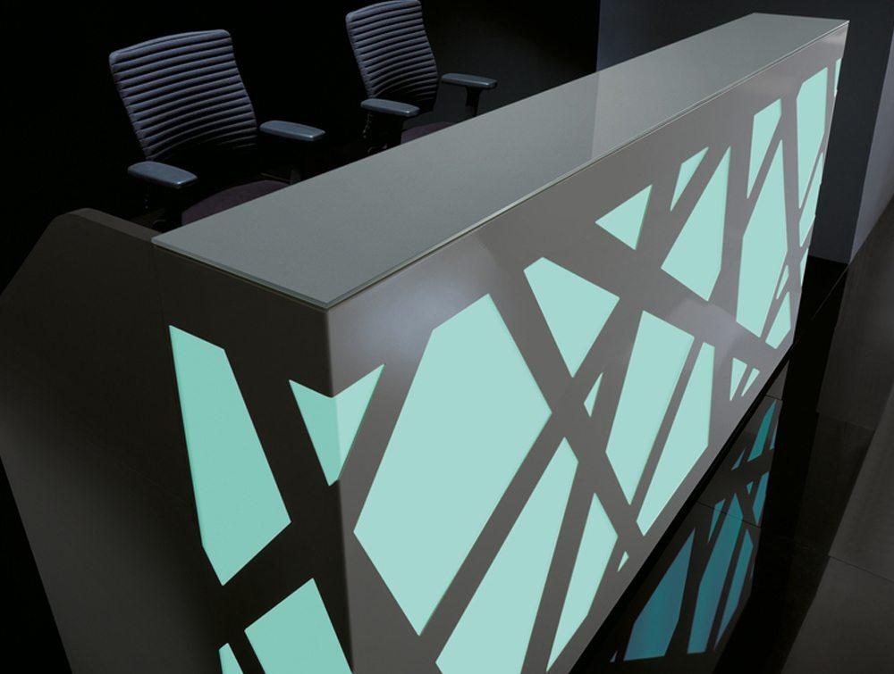 Black zig zag reception counter light blue LED lights
