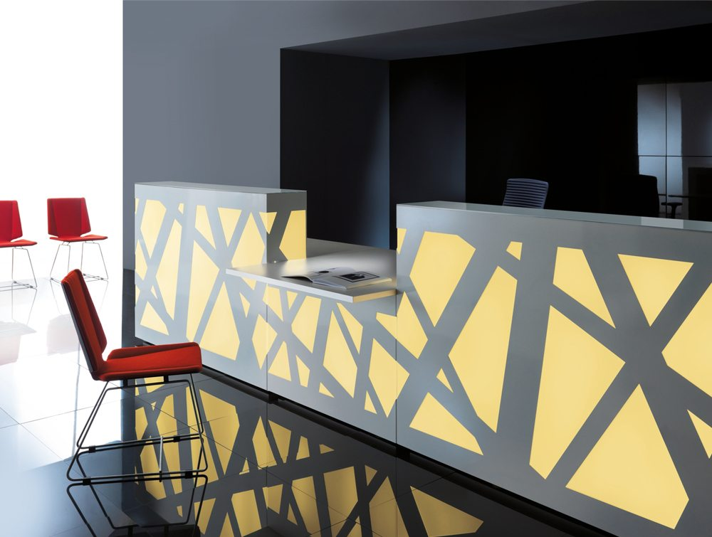 Zig zag Reception Counter with LED Lights in yellow