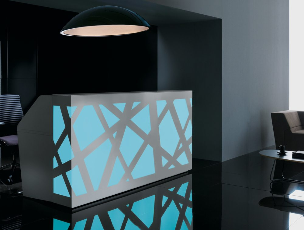 Black zig zag Reception Counter blue LED Lights full view