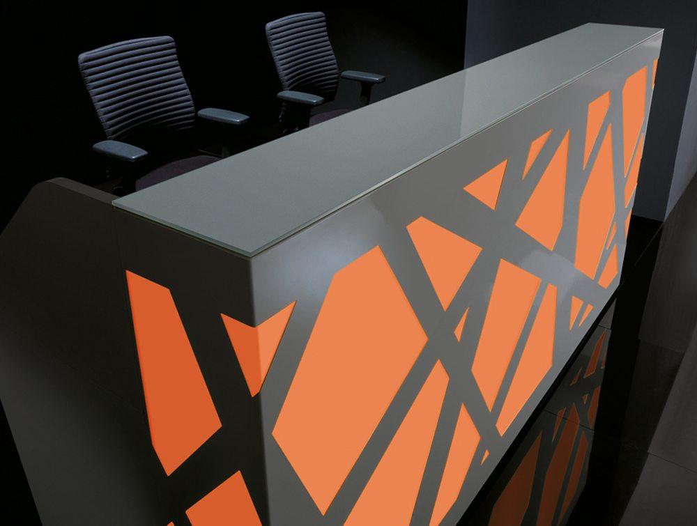 Black zig zag Reception Counter orange LED Lights