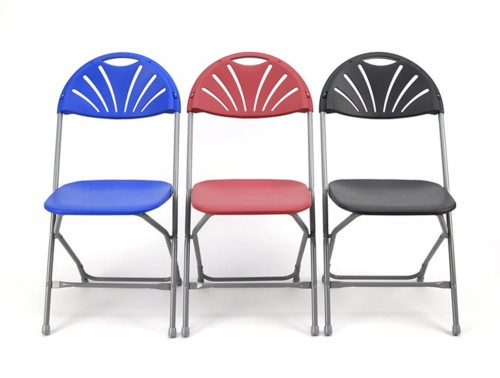Zlite Fan Back Chair for Exam or School Assembly Foldable in Blue Red and Grey