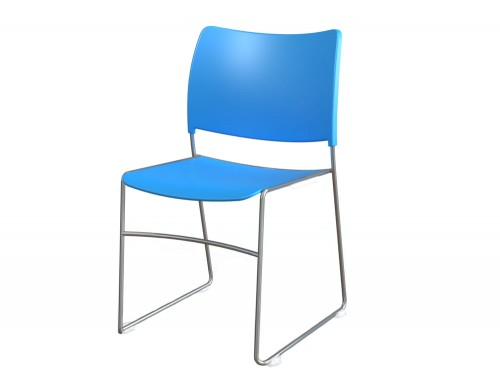 Zlite High Density School Event Chair with Chrome Frame in Blue
