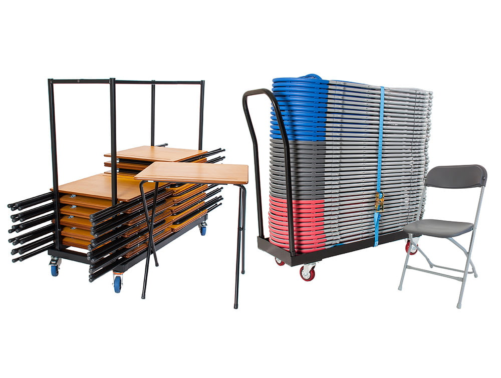 Zlite Exam Combo 40 Folding Desks and Chairs with Trolleys