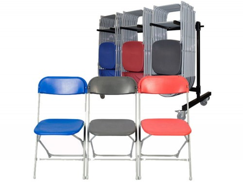 Zlite Straight Back Chair for Exam or School Assembly Foldable in Blue Red and Grey