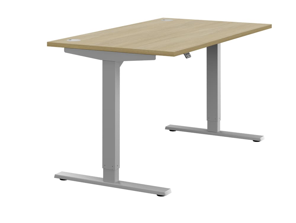 Zoom Ergonomic Single Sit Stand Desk - Oak Wood Finish - Silver Metal Finish