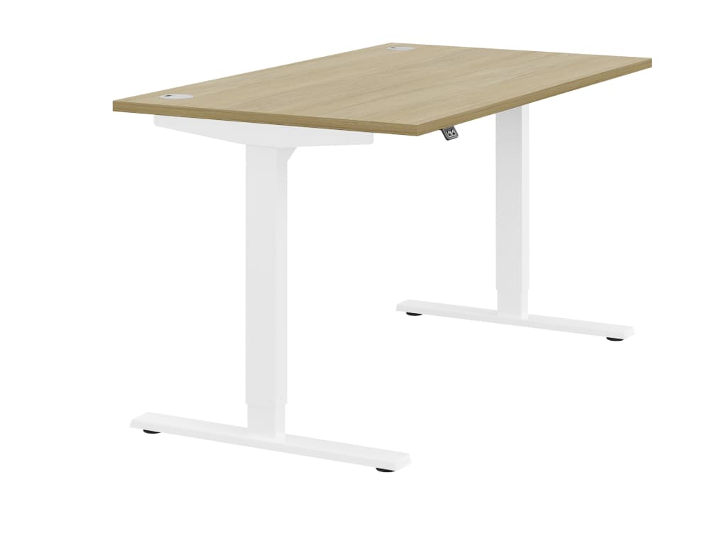 Zoom Ergonomic Single Sit Stand Desk - Oak Wood Finish - White Metal Finish