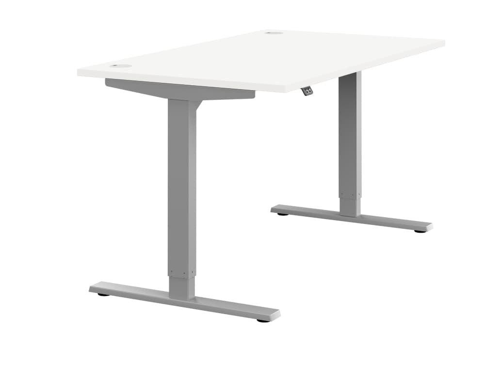 Zoom Ergonomic Single Sit Stand Desk - White Wood Finish - Silver Metal Finish