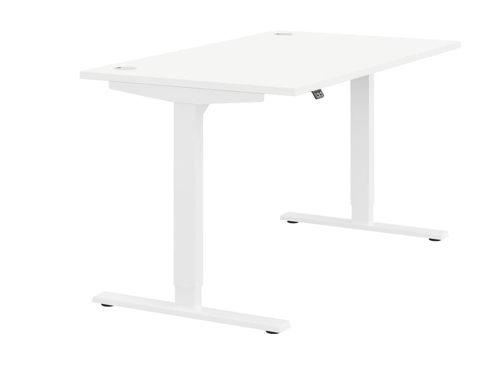 Zoom Ergonomic Single Sit Stand Desk - White Wood Finish - White Metal Finish