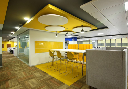 Bright Yellow Office Canteen and Stools