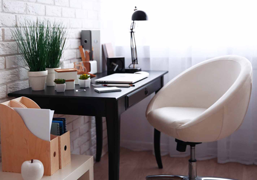 Modern Home Office with Egg Chair