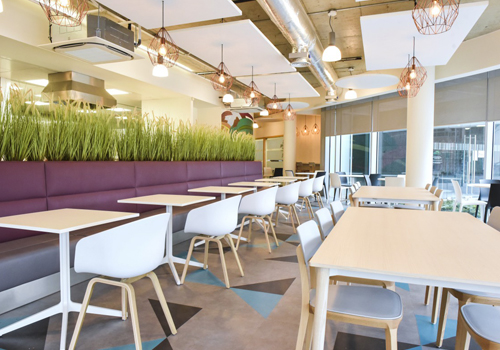 Sleek Office Canteen Design with Plants
