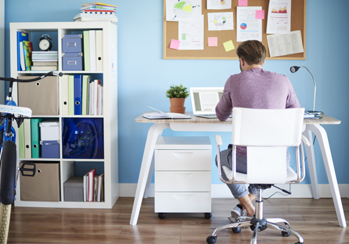 Light blue coloured home office