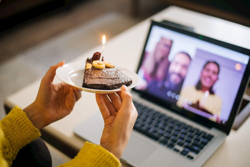 Celebrating birthday on video call