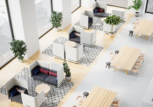 smart office design with modular desks and furniture