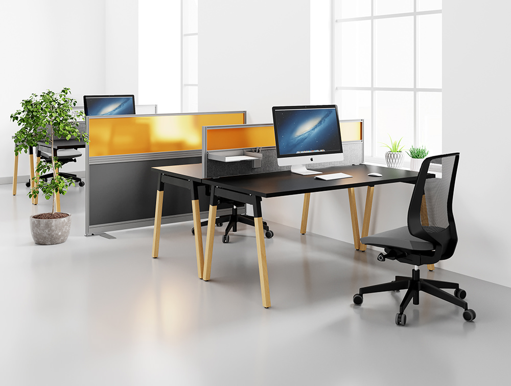 Workstations in office with Social Distancing measures