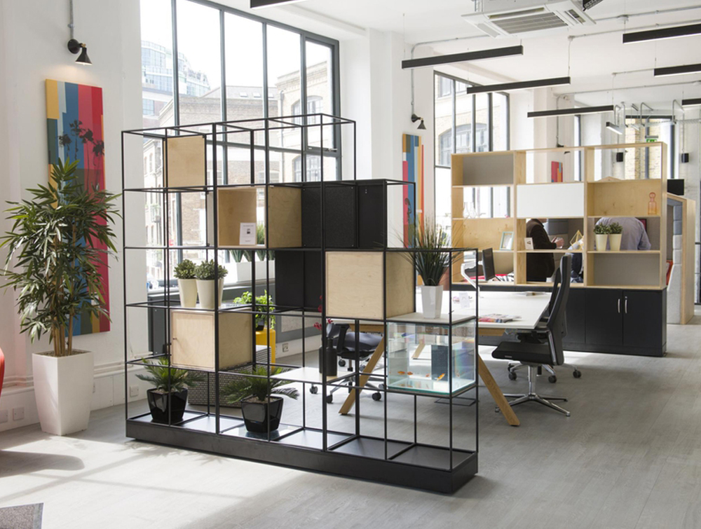 Zone dividers in an open plan office
