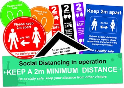Social distancing signs and posters