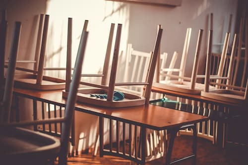 Wooden chairs and desks in classroom