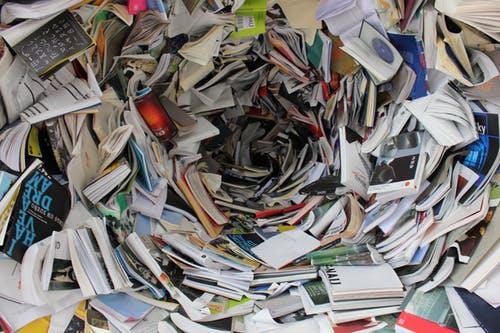 Book clutter in a tornado